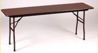 "Correll CF1896P Folding Table w/ 5/8"" Walnut High-Pressure Top, 18x96"""