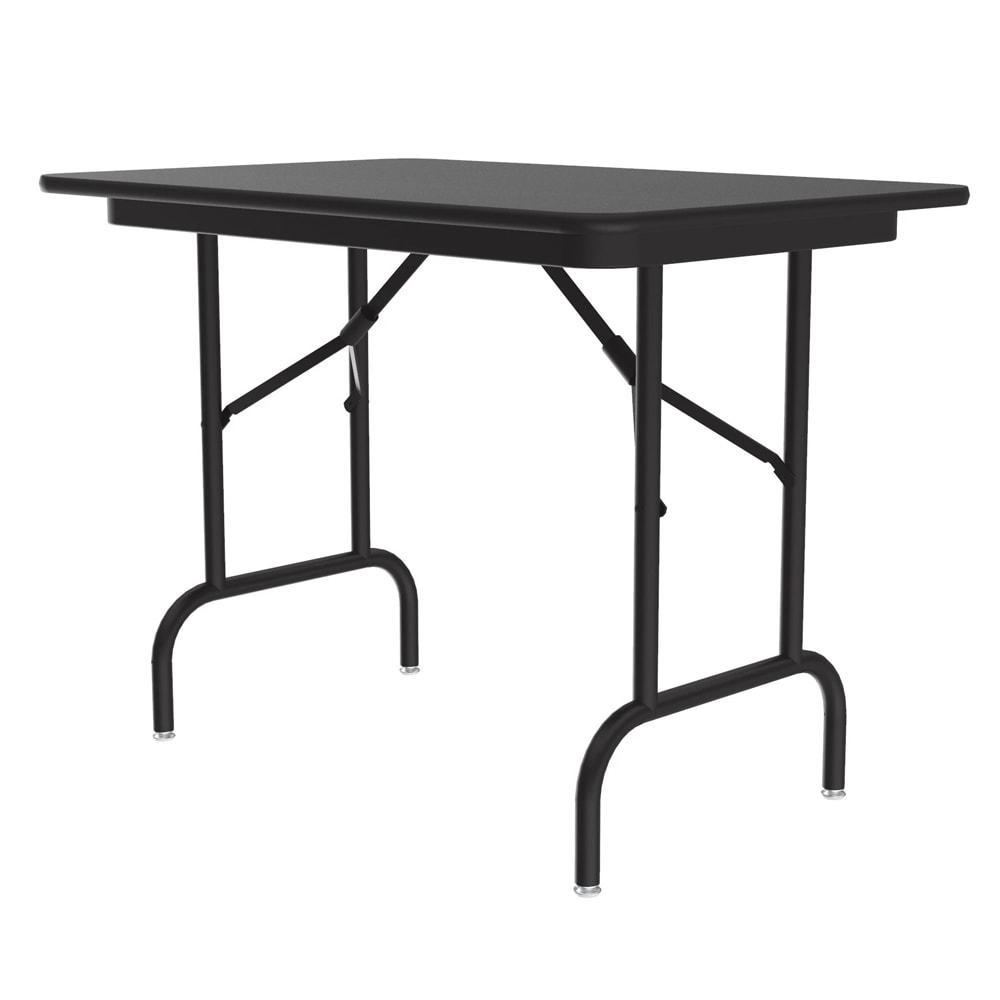"Correll CF2436MK 07 Keyboard Height Folding Table w/ Melamine Top, 24 x 36"", Black Granite"