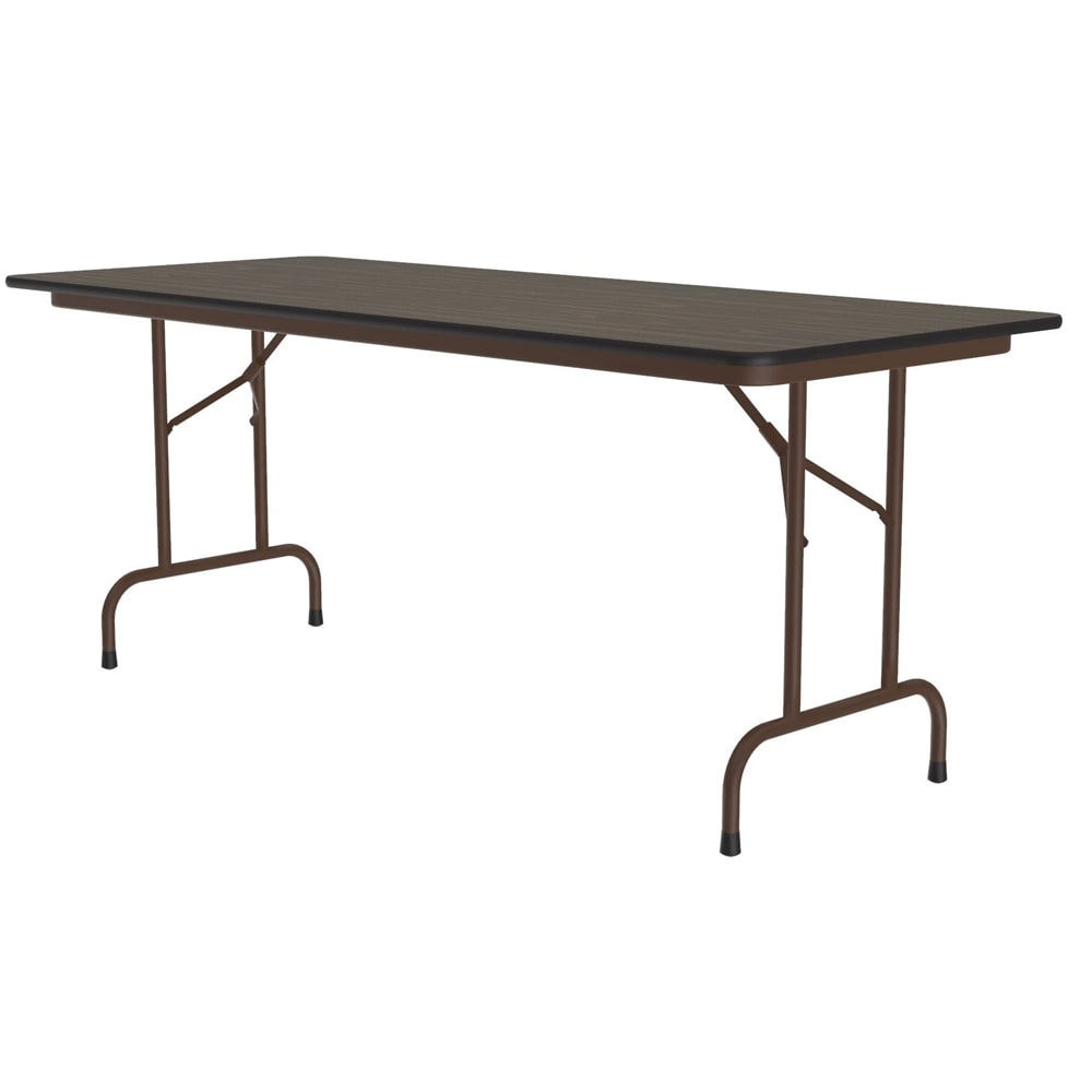 "Correll CF2460M 01 Melamine Folding Table w/ 5/8"" High Density Top, 24 x 60"", Walnut"