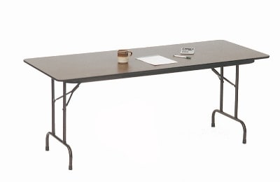 "Correll CF2472P 01 Folding Table w/ 5/8"" High-Pressure Top, 24 x 72"", Walnut"