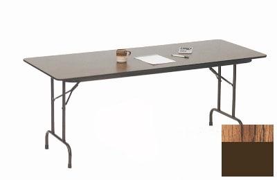 "Correll CF2472P 06 Folding Table w/ 5/8"" High-Pressure Top, 24 x 72"", Oak"