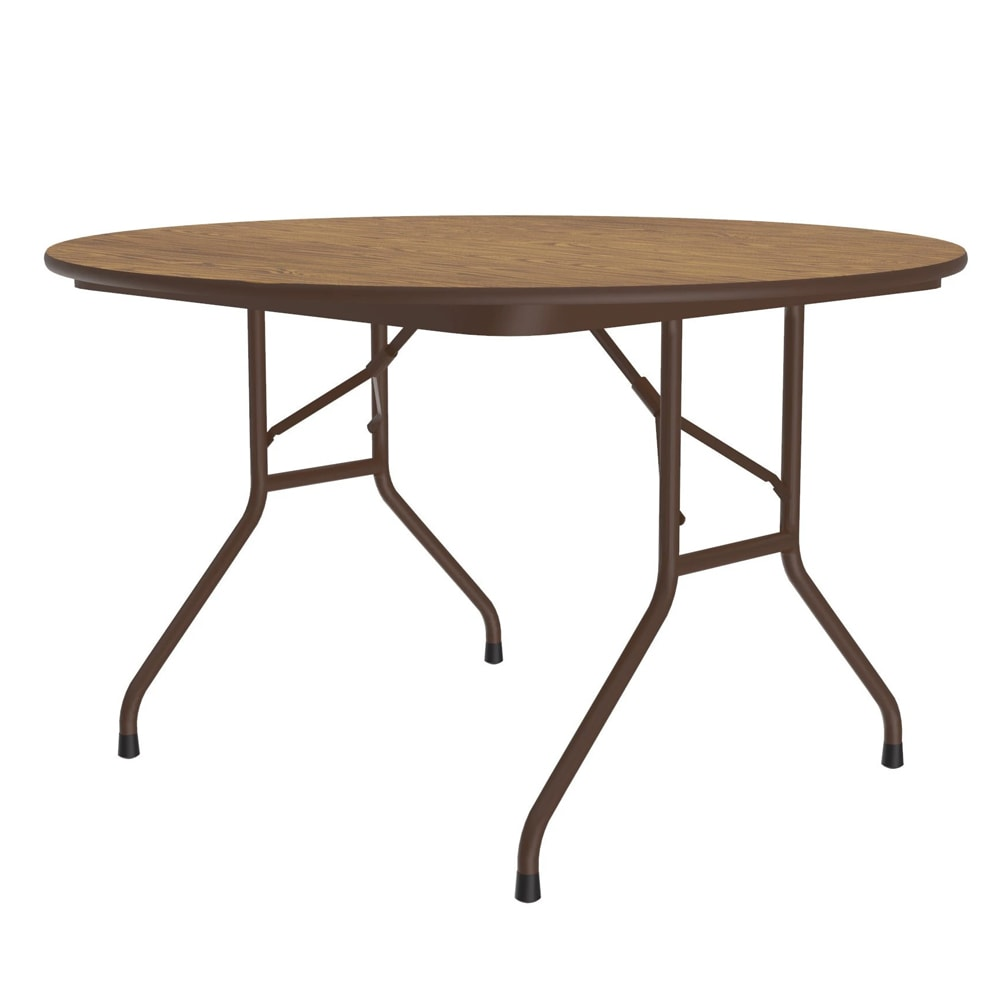 "Correll CF48MR 06 48"" Round Melamine Folding Table w/ 5/8"" High Density Top, Medium Oak"
