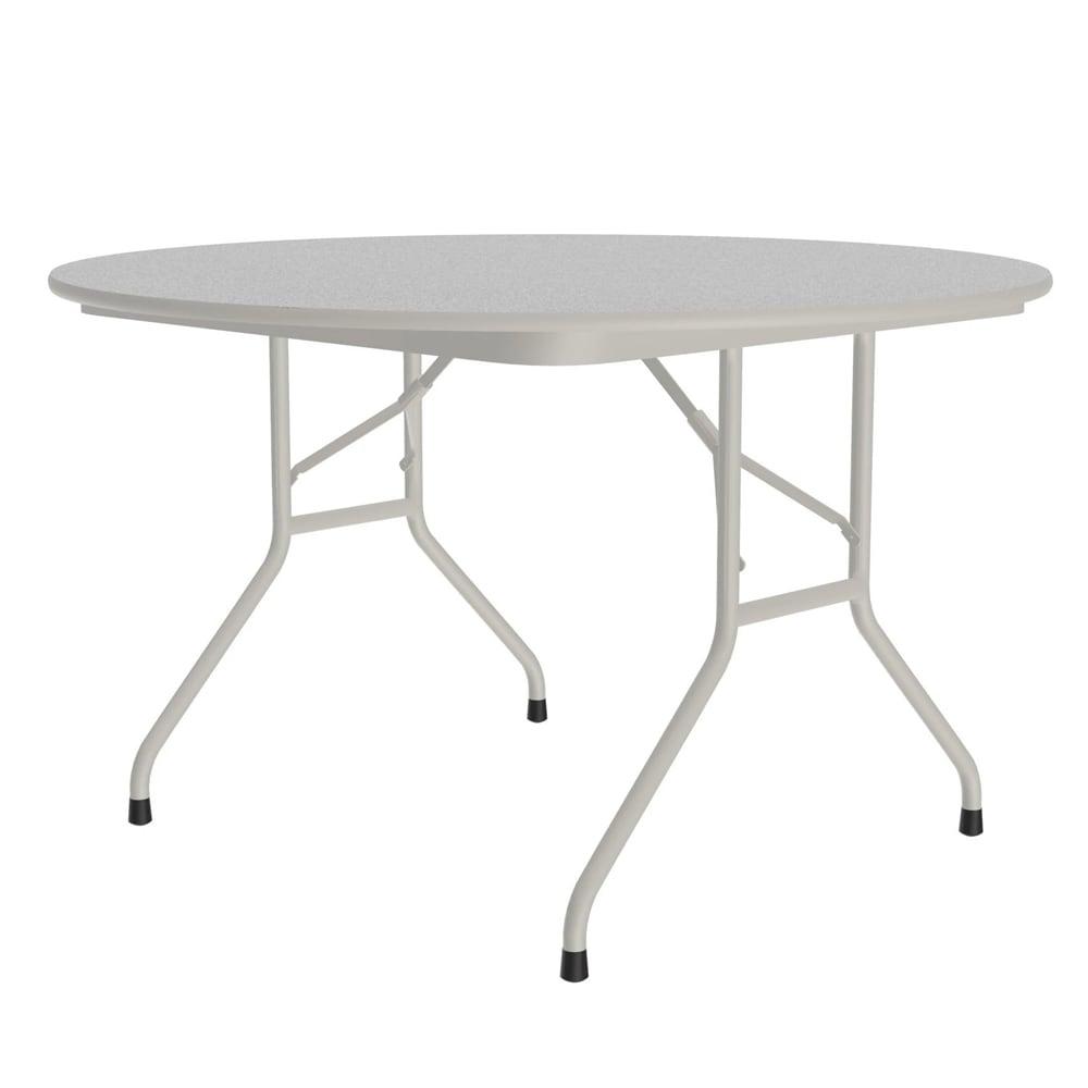 "Correll CF48MR 15 48"" Round Melamine Folding Table w/ 5/8"" High Density Top, Gray Granite"