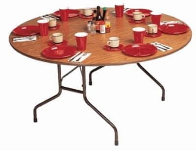 "Correll CF48P 06 48"" Round Folding Table w/ 5/8"" High-Pressure Top, Oak"