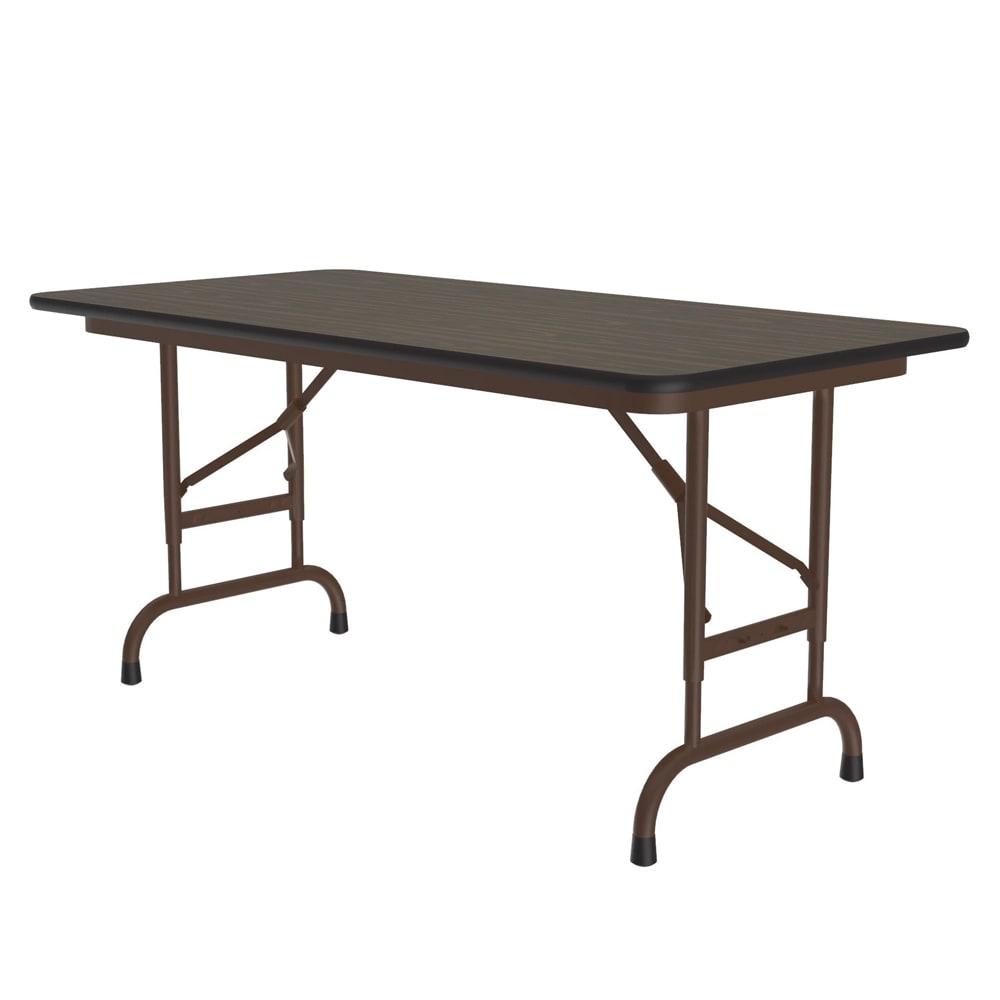 "Correll CFA2448PX 01 Folding Table w/ .75"" High-Pressure Top, Adjustable Height, 24 x 48"", Walnut"
