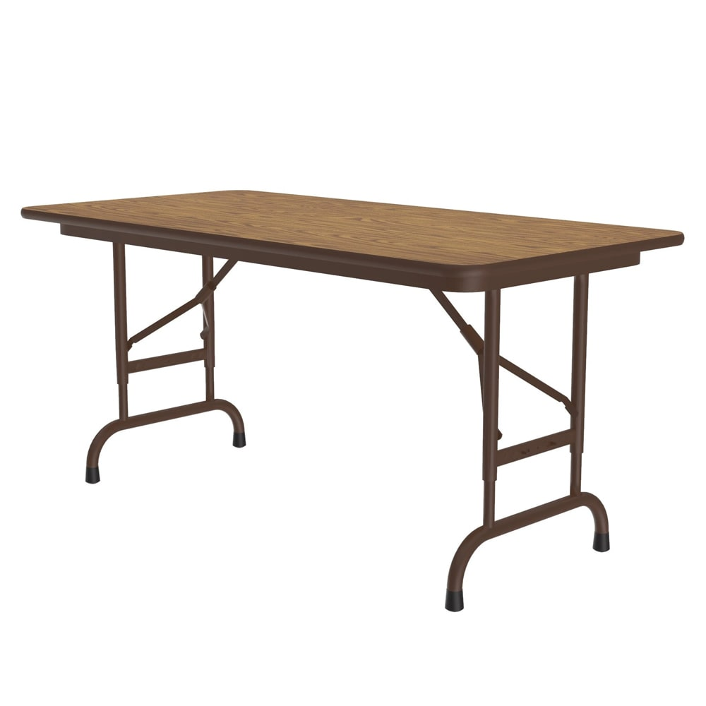 "Correll CFA2448PX 06 Folding Table w/ .75"" High-Pressure Top, Adjustable Height, 24 x 48"", Oak"