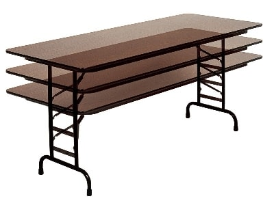 "Correll CFA3096P 01 Folding Table w/ 5/8"" High-Pressure Top, Adjustable Height, 30 x 96"", Walnut"