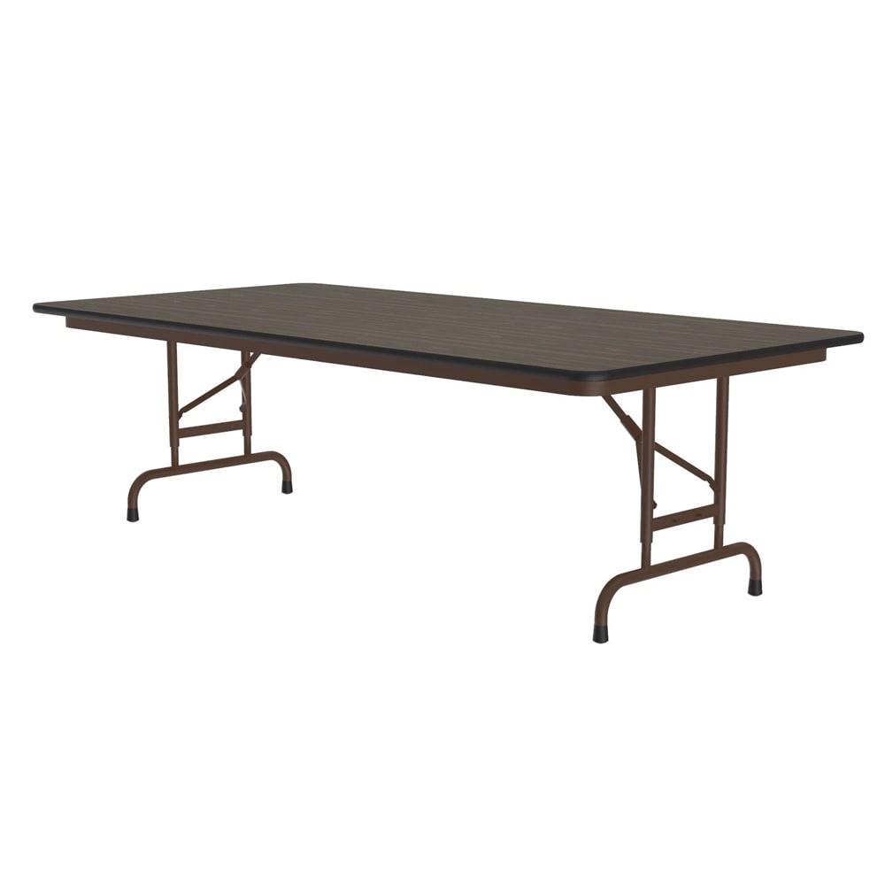 "Correll CFA3672M 01 Melamine Folding Table w/ 5/8"" Top, Adjustable Height, 36 x 72"", Walnut"