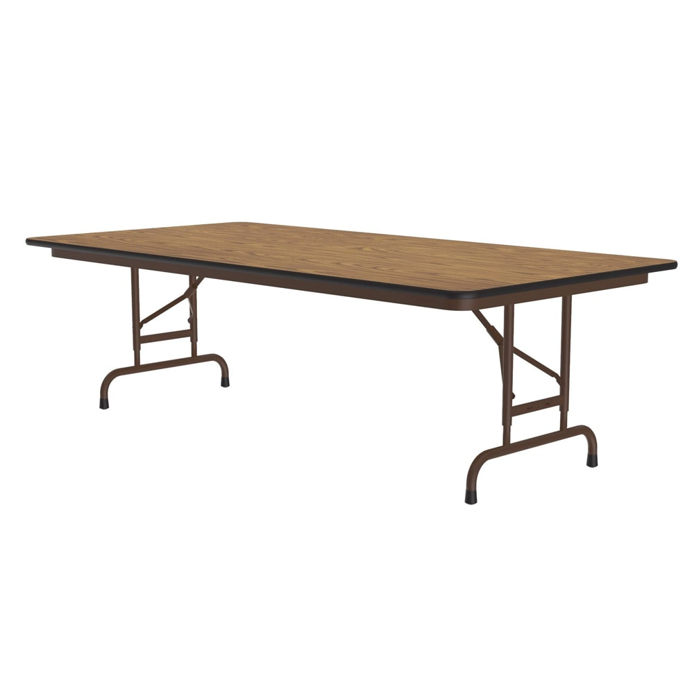 "Correll CFA3672M 06 Melamine Folding Table w/ 5/8"" Top, Adjustable Height, 36 x 72"", Medium Oak"