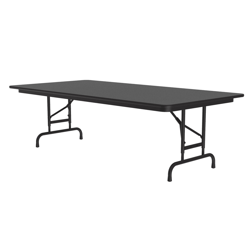 "Correll CFA3672M 07 Melamine Folding Table, 5/8"" Top, Adjustable Height, 36 x 72"", Black Granite"
