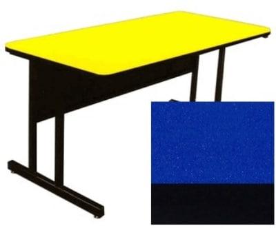 "Correll CS2460 27 26"" Desk Height Work Station w/ 1.25"" Top, 24 x 60"", Blue/Black"
