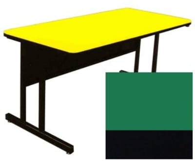 "Correll CS3048 29 26"" Desk Height Work Station w/ 1.25"" Top, 30 x 48"", Green/Black"