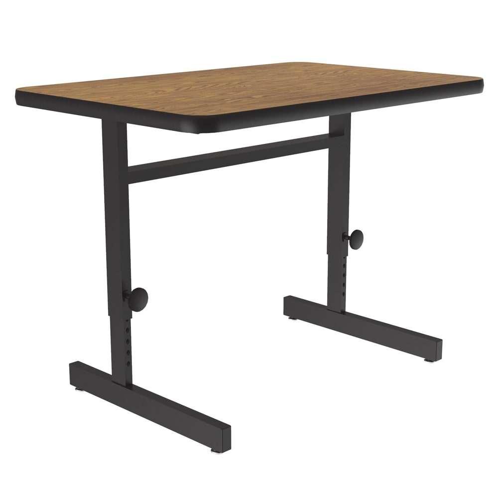 "Correll CSA2436 06 Desk Height Work Station, 1.25"" Top, Adjust to 29"", 24 x 36"", Oak/Black"