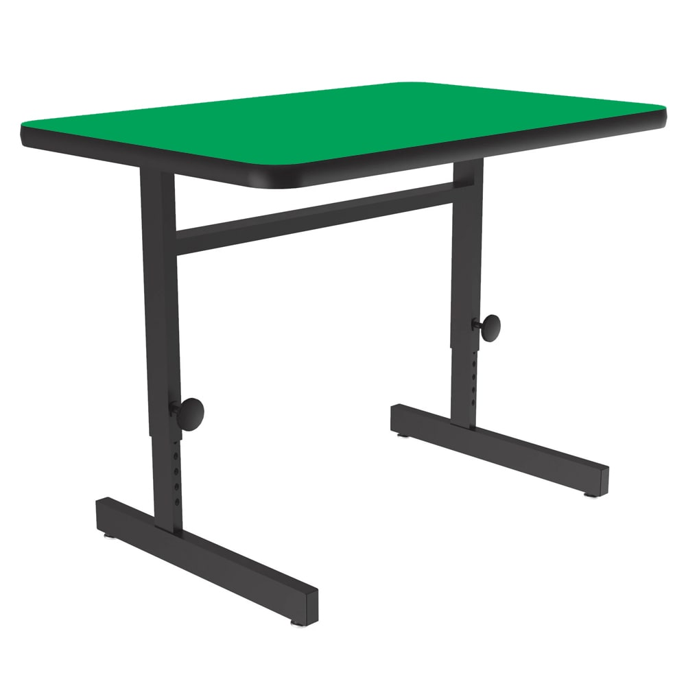 "Correll CSA2436 29 Desk Height Work Station, 1.25"" Top, Adjust to 29"", 24 x 36"", Green/Black"