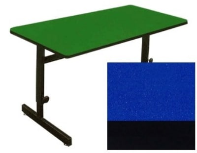 "Correll CSA2448 27 Desk Height Work Station, 1.25"" Top, Adjust to 29"", 24 x 48"", Blue/Black"