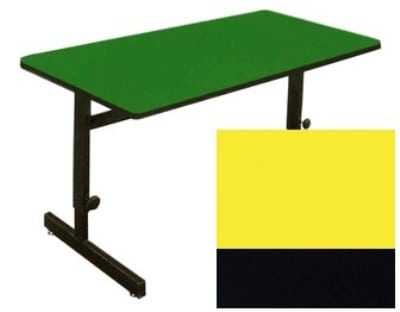"""Correll CSA2448 28 Desk Height Work Station, 1.25"""" Top, Adjust to 29"""", 24 x 48"""", Yellow/Black"""