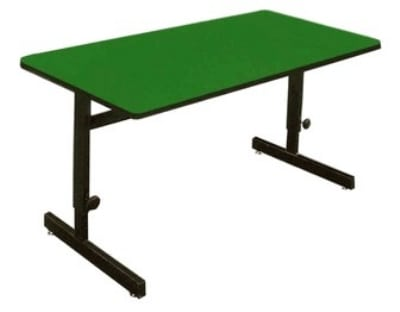 "Correll CSA3060 29 Desk Height Work Station, 1.25"" Top, Adjust to 29"", 30 x 60"", Green/Black"