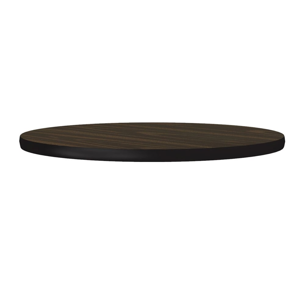 "Correll CT24R 01 24"" Round Cafe Breakroom Table Top, 1.25"" High Pressure, Walnut"
