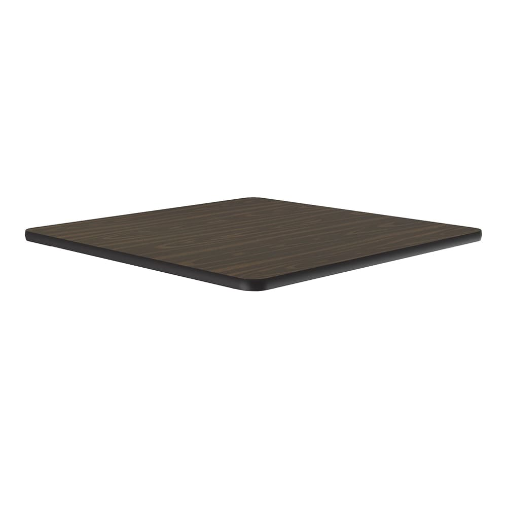"Correll CT24S 01 24"" Square Cafe Breakroom Table Top, 1.25"" High Pressure, Walnut"