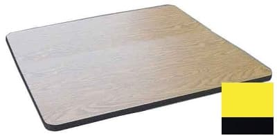 """Correll CT24S 28 24"""" Square Cafe Breakroom Table Top, 1.25"""" High Pressure, Yellow"""