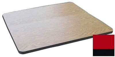 "Correll CT36S 25 36"" Square Cafe Breakroom Table Top, 1.25"" High Pressure, Red"