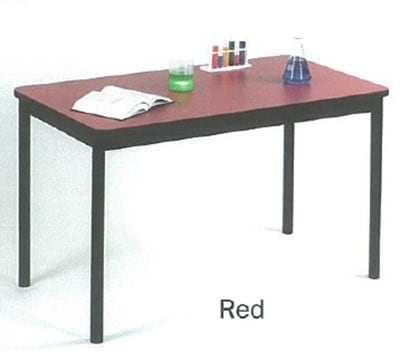 "Correll LR2460 35 Economical Library Table w/ Wear Resistant Surface & T Mold Edge, 24x60"", Red"