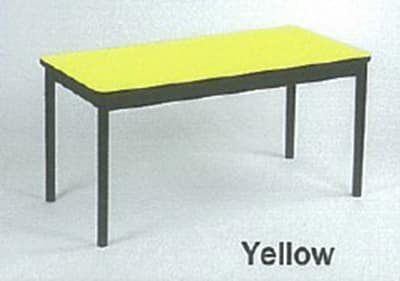 """Correll LT2472 38 Economical Lab Table w/ Wear Resistant Surface & T Mold Edge, 24x72"""", Yellow"""