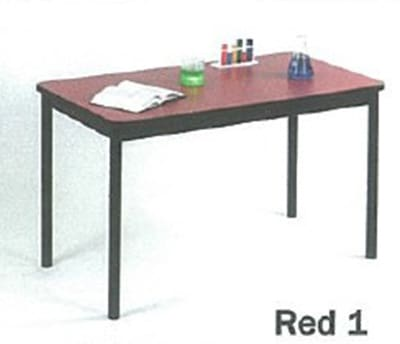 """Correll LT3048 35 Economical Lab Table w/ Wear Resistant Surface & T Mold Edge, 30x48"""", Red"""