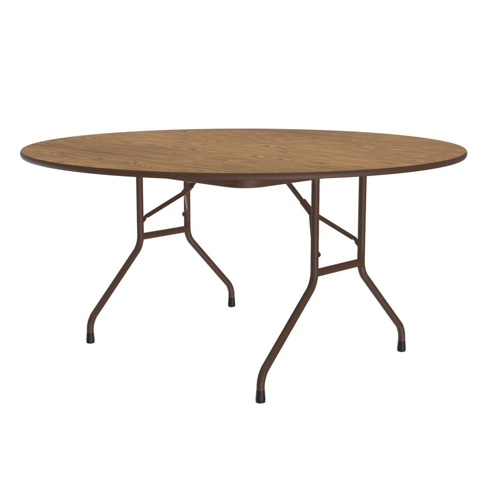 """Correll PC60P 06 60"""" Round Solid Plywood Core Folding Table w/ Premium High-Pressure Top, Oak"""