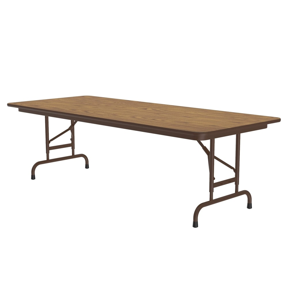 "Correll PCA3060P 06 Solid Plywood Core Folding Table w/ Adjustable Height, 30 x 60"", Oak"