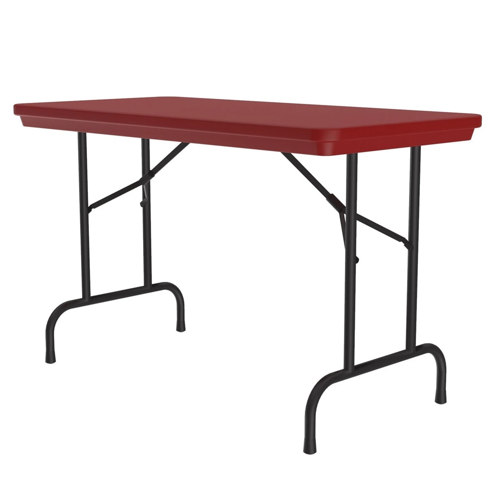 """Correll R2448 25 Folding Seminar Table w/ Blow-Molded Top, 24 x 48"""", Red"""