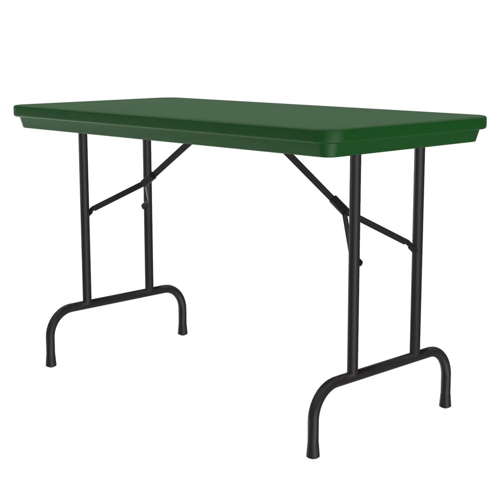 "Correll R2448 29 Folding Seminar Table w/ Blow-Molded Top, 24 x 48"", Green"