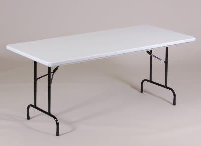 "Correll R3072TL 23 Folding Seminar Table w/ Blow-Molded Top & T-Leg, 30 x 72"", Gray Granite"