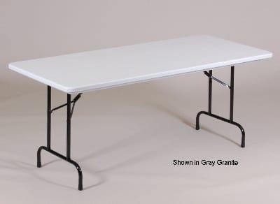 "Correll R3072TL 27 Folding Seminar Table w/ Blow-Molded Top & T-Leg, 30 x 72"", Blue"