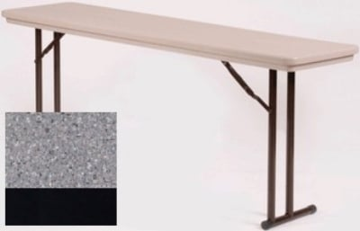 "Correll RA1872TL 23 Folding Seminar Table w/ Blow-Mold Top & T-Leg, Adjusts to 32"", Gray Granite"