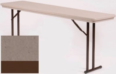 "Correll RA1872TL 24 Folding Seminar Table w/ Blow-Mold Top & T-Leg, Adjusts to 32"", Mocha Granite"