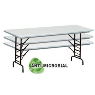 "Correll RA3072-AM 162623 Anti-Microbial Blow-Mold Table, Adjust To 26"", 30 x 72"", Gray Granite/Black"
