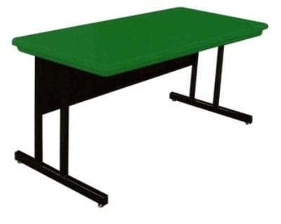"""Correll RCS3060 29 26"""" Computer Training Table w/ Blow-Molded Top, 30 x 60"""", Green"""