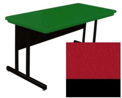 "Correll RCS3072 25 26"" Computer Training Table w/ Blow-Molded Top, 30 x 72"", Red"