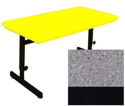 "Correll RCSA2448 15 Computer Train Table, Blow-Molded Top, Adjust to 29"", 24 x 48"", Gray Granite"