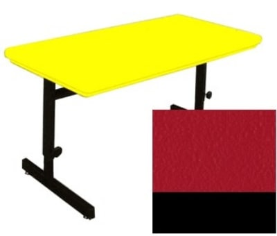 """Correll RCSA2448 25 Computer Training Table w/ Blow-Molded Top, Adjusts to 29"""", 24 x 48"""", Red"""
