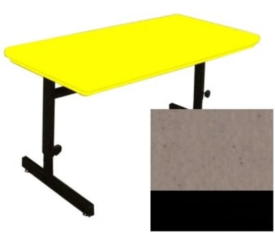 "Correll RCSA3072 24 Computer Train Table, Blow-Mold Top, Adjust to 29"", 30 x 72"", Mocha Granite"