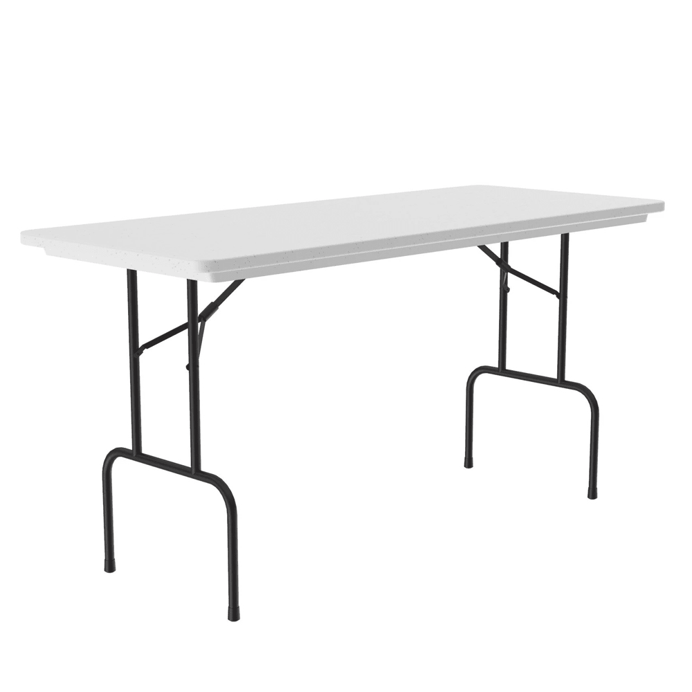 "Correll RS3072 Counter Height Folding Work Table, 30 x 72"", Black Frame, 36"" H, Gray Granite"