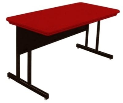 "Correll RWS2448 25 29"" Computer Training Table w/ Blow-Molded Top, 24 x 48"", Red"