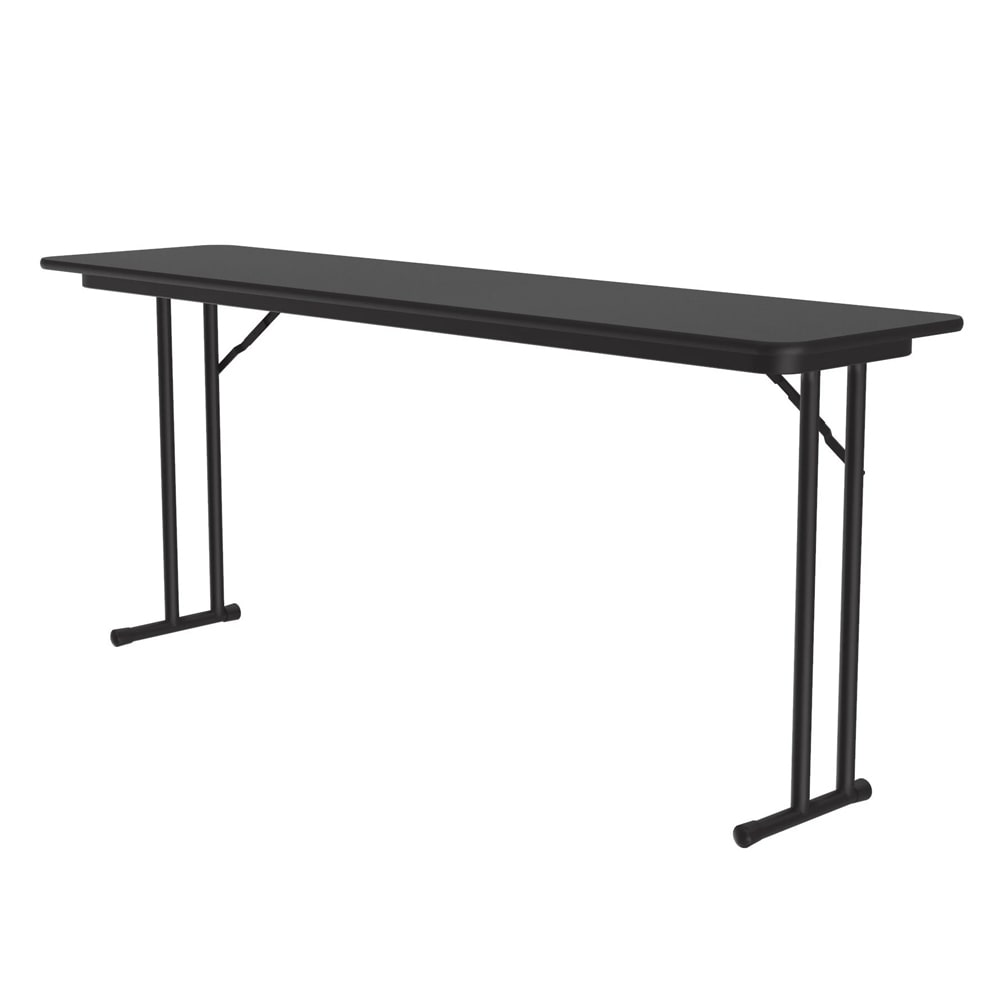 "Correll ST1860PX 07 Off-Set Leg Seminar Table w/ .75"" High Pressure Top, 18 x 60"", Black Granite"