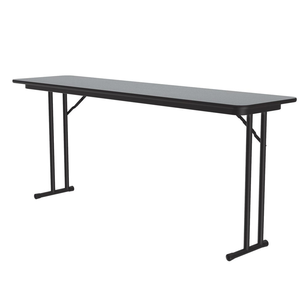 "Correll ST1860PX 15 Off-Set Leg Seminar Table w/ .75"" High Pressure Top, 18 x 60"", Gray Granite"