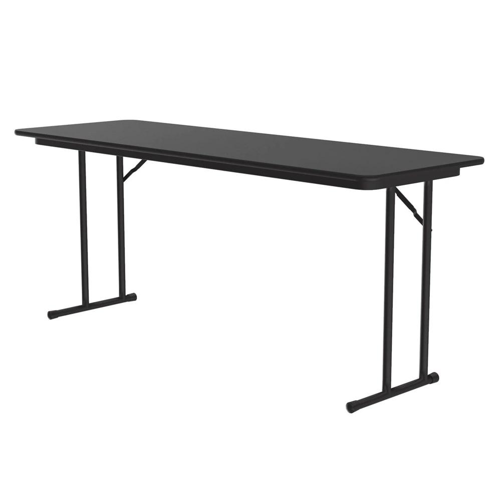 "Correll ST2460P X 07 Off-Set Leg Seminar Table w/ .75"" High Pressure Top, 24 x 60"", Black Granite"