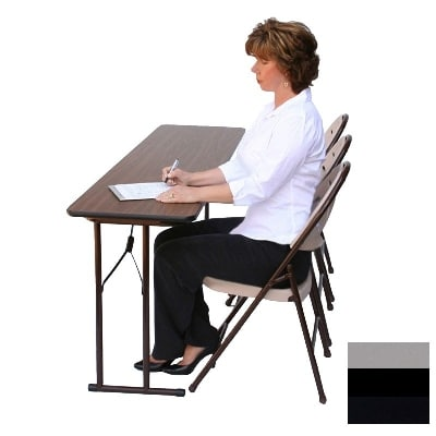 "Correll ST2460P X 13 Off-Set Leg Seminar Table w/ .75"" High Pressure Top, 24 x 60"", Dove Gray"