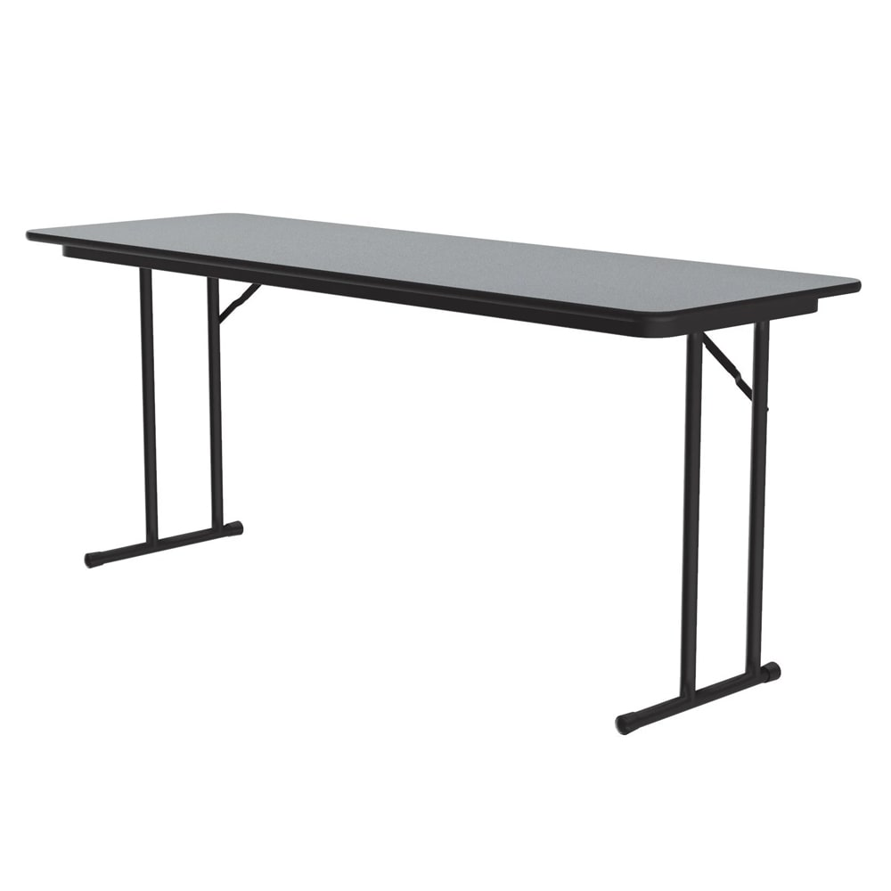 "Correll ST2460P X 15 Off-Set Leg Seminar Table w/ .75"" High Pressure Top, 24 x 60"", Gray Granite"