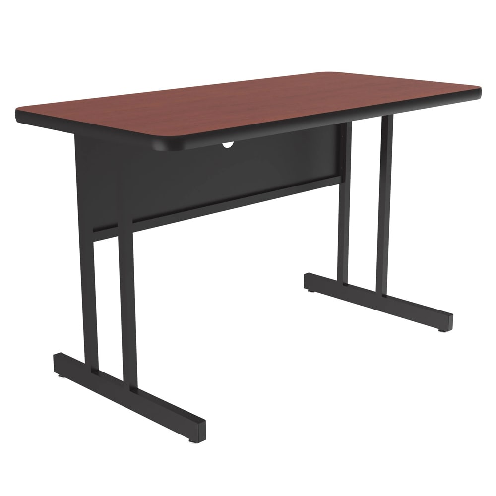 "Correll WS2436 21 29"" Desk Height Work Station w/ 1.25"" Top, 24 x 36"", Cherry/Black"
